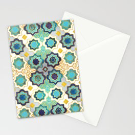 Marrakesh gold and blue geometry inspiration Stationery Cards
