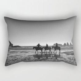 Horseback Storytelling Black and White Rectangular Pillow