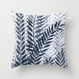 Blue Leaves Watercolor Throw Pillow