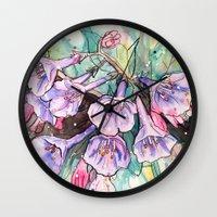 virginia Wall Clocks featuring virginia bluebells by Beth Jorgensen