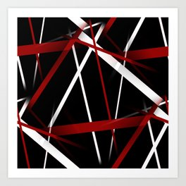 Seamless Red and White Stripes on A Black Background Art Print