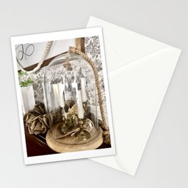 glass cloche with candlesticks Stationery Cards