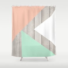 Modern Teal Peach Triangles Color Block on Wood Shower Curtain