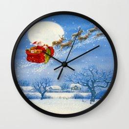 Santa and his flying Reindeer Wall Clock