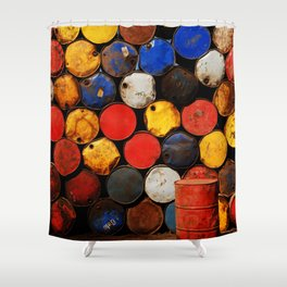 Gasoline Rusty Tin Cans Pattern Shower Curtain
