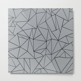 Ab Dotted Lines B on Grey Metal Print