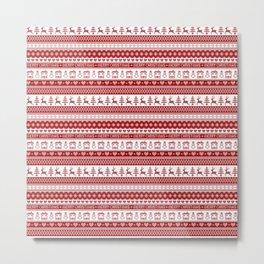 Nordic fair isle Christmas pattern Metal Print