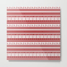 Nordic fair isle Christmas pattern Metal Print