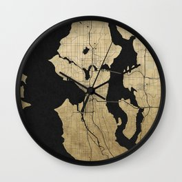 Seattle Black and Gold Street Map Wall Clock