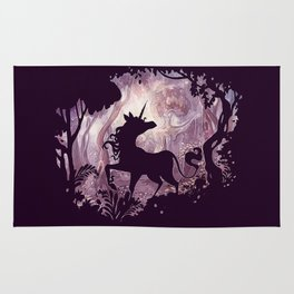 Unicorn in magical forest Rug