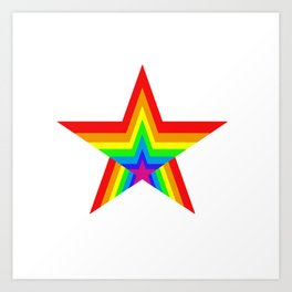 Bright Hypnotic Rainbow Pride Star Art Print