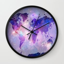 world map galaxy Wall Clock