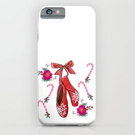 Christmas Ballet shoes, candy canes, poinsettia and holly holiday art iPhone Case