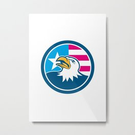 American Bald Eagle Head Flag Side Cartoon Metal Print