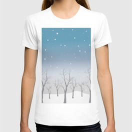 Winter Trees Background. Winter landscape with trees, snow T-shirt