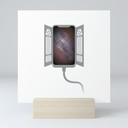 Gate to infinity - gray Mini Art Print