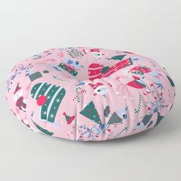 Christmas Birdies - Pink Floor Pillow