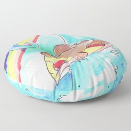 surfing sloth pizza rainbow Floor Pillow