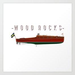 wooden boat tee Art Print