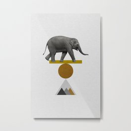 Tribal Elephant Metal Print