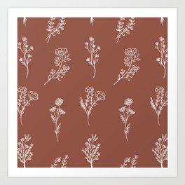 Botanical Wildflowers Line Art Art Print