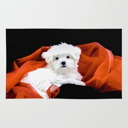 Lancelot the Maltese Puppy with Red Christmas Fabric Rug