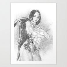 Chinese Tattoo  BW Sketch Art Print