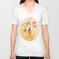 carousel V-neck T-shirts featuring Carousel by José Luis Guerrero