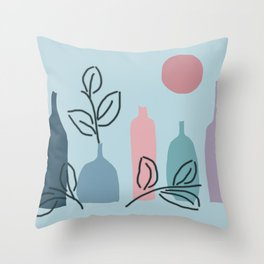 Blue and violet bottles with leaves Throw Pillow