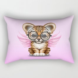 Tiger Cub with Fairy Wings Wearing Glasses on Pink Rectangular Pillow