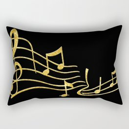 Gold Metallic Music Symbols Rectangular Pillow