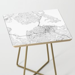 Auckland White Map Side Table
