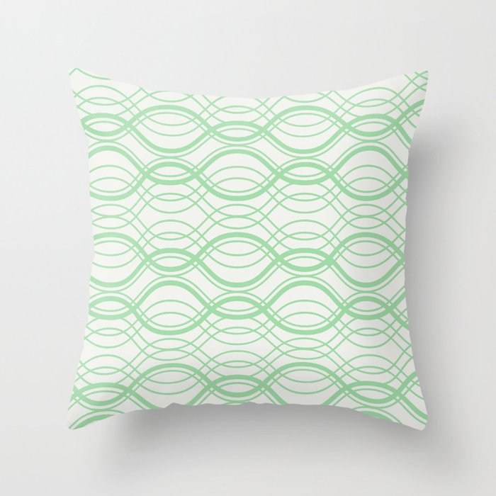 Pastel Mint Green Thin Overlapping Line Pattern on Linen Off White 2020 Color of the Year Neo Mint Throw Pillow