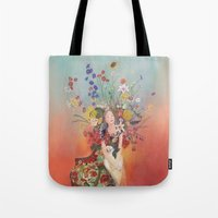 sofa Tote Bags featuring My antique sofa by Min Roh
