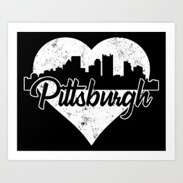 Retro Pittsburgh Pennsylvania Skyline Heart Distressed Art Print