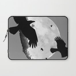 A Murder Of Crows Flying Across The Moon Laptop Sleeve