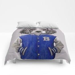 dog boy portrait Comforters