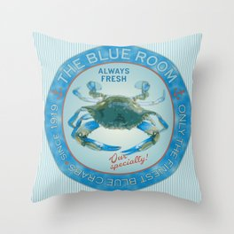 Retro Vintage Advertising Inspired Seafood Ad for Blue Crabs Throw Pillow