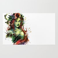 poison ivy Area & Throw Rugs featuring Poison Ivy by Vincent Vernacatola