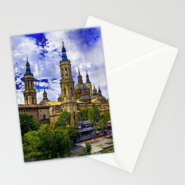 The Basilica de Nuestra Senora del Pilar and Ebro river in the City of Zaragoza (Saragossa), Aragon, Spain. Stationery Cards