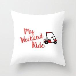 Funny Golf design My Weekend Ride Golf Cart for Golf Lovers Throw Pillow