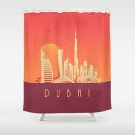 Dubai City Skyline Retro Art Deco Tourism - Sunset Shower Curtain