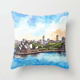 Sydney ink & watercolor illustration Throw Pillow