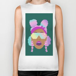 Top Puffs Girl #naturalhair #rainbowhair #shades #lipstick #blackunicorn #curlygirl Biker Tank
