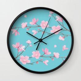 Cherry Blossom - Robin Egg Blue Wall Clock