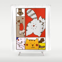 Mondrian's Cat Shower Curtain