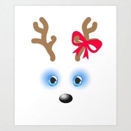 Reindeer Christmas Slaigh Santa Claus Socks Presents Design Art Print