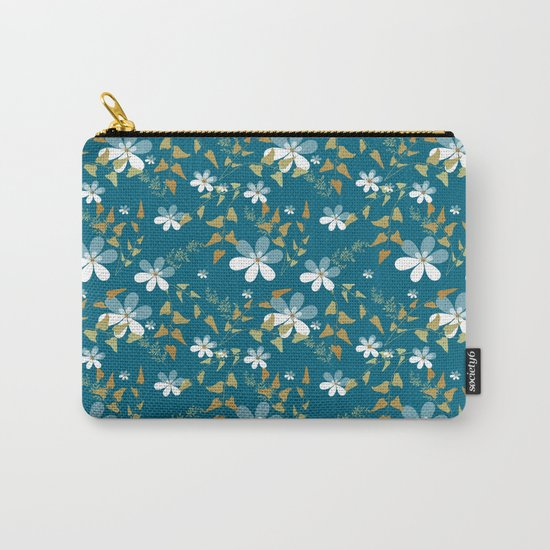 White flowers on a blue background . Carry-All Pouch