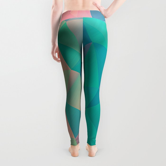 Fractured, Colorful Triangles Geometric Shapes Leggings