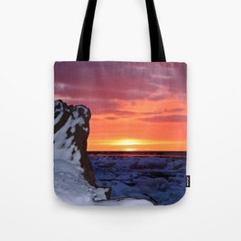 Golden Sunset on Sea and  Snow Tote Bag